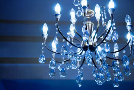 Vintage crystal lamp toned in blue photo
