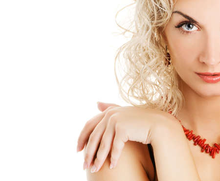 Beautiful young woman with curl blond hair photo