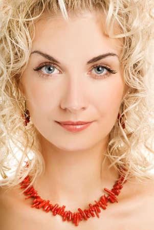 Beautiful young woman close-up portrait photo