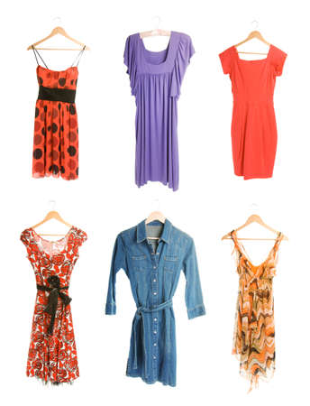 Collection of six differend dresses isolated on white background photo