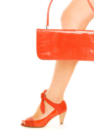 Kit of two classic items, sexy red shoe with high heel on a leg and elegant leather handbag Stock Photo - 3334359