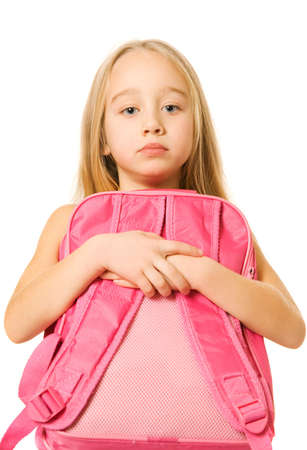 bore: Sad young girl with a pink backpack