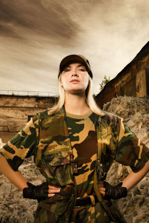 face guard: Angry female soldier Stock Photo