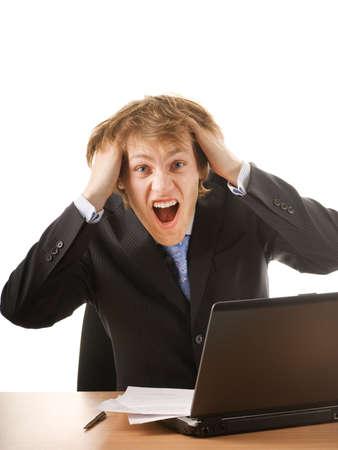 Business man in panic photo