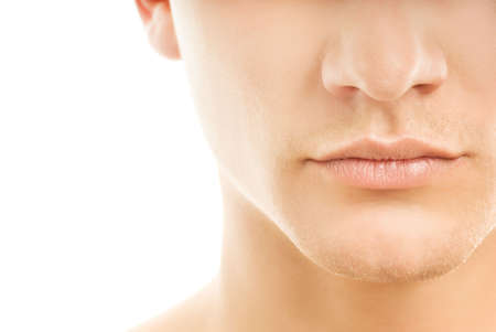 Close-up shot of a part of mans face. Isolated on white background photo