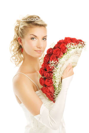 Beautiful young bride with luxury bouquet of red roses. Isolated on white background Stock Photo - 3449144