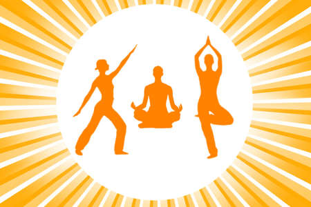 Yoga silhouettes over abstract background Stock Photo - 3457552