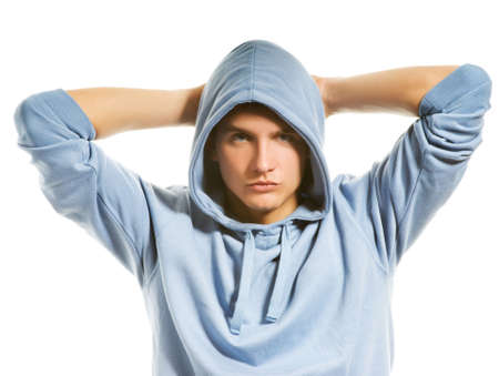 Handsome young man in a hood Stock Photo - 3479284