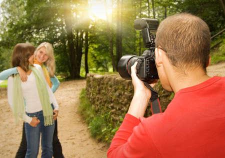 photography session: Outdoors photoshoot Stock Photo