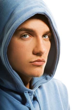 Handsome young man in a hood Stock Photo - 3547065