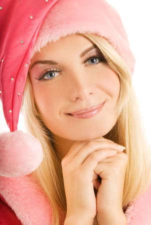 dona: Hermoso mrs. Santa cerca de portrat. Aislado en blanco. Foto de archivo