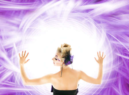 Beautiful woman over abstract purple background photo
