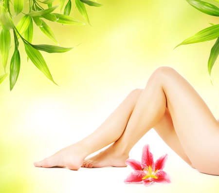 Female legs with pink lily isolated over abstract green background Stock Photo