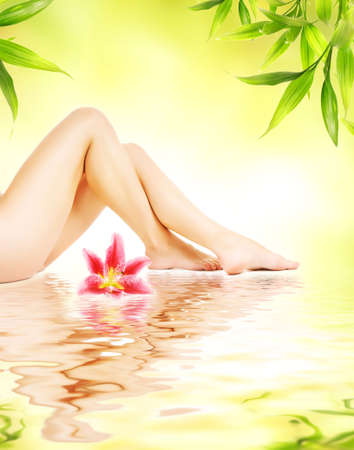 Female legs with pink lily reflected in water Stock Photo