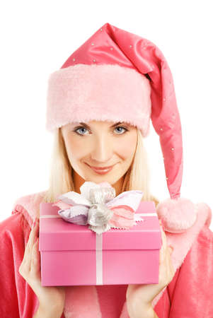Beautiful mrs. Santa with a gift box photo