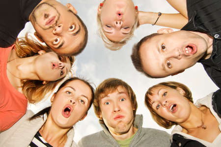 Group of happy friends making surprised faces Stock Photo - 3622964