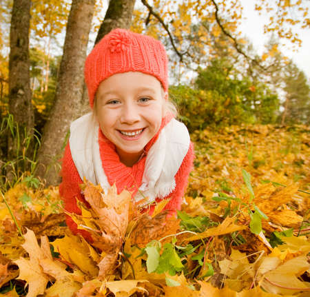 Beautiful little girl with autumn leaves outdoors Stock Photo - 3646006