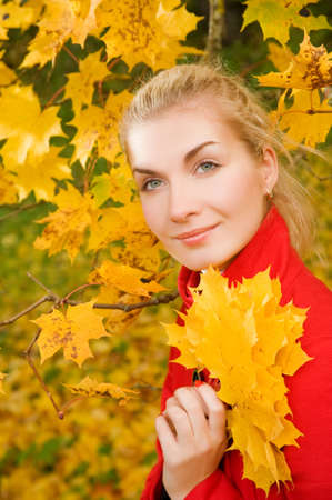 Beautiful young woman in atumn forest Stock Photo - 3646013