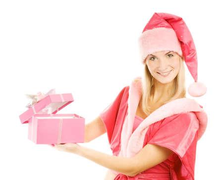 Beautiful mrs. Santa with a gift box photo