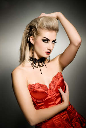 Sexy vamp woman with creative hairstyle Stock Photo - 3709365