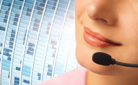 contact center: Beautiful hotline operator with headset