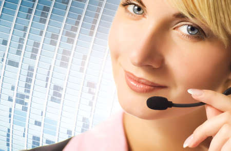 phone operator: Friendly phone operator on blue abstract background