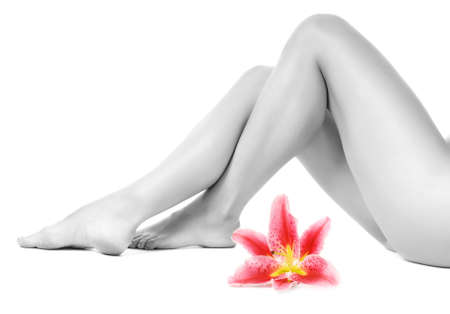 Female legs with pink lily isolated on white background Stock Photo - 3746280