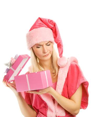 dona: Hermoso mrs. Santa con una caja de regalo Foto de archivo