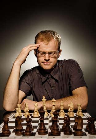 Thoughtful chess master Stock Photo - 3820932