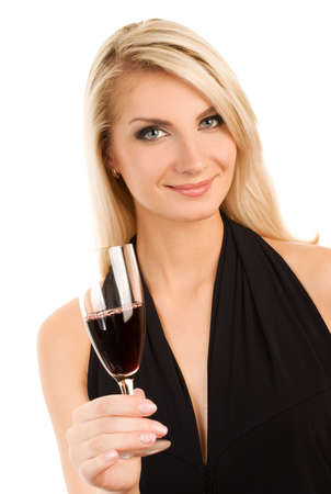single woman: Beautiful young woman with a glass of red wine