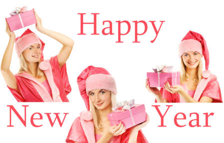 Mrs. Santa with a gift box. Happy new year set photo