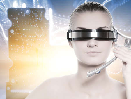Beautiful cyber woman over abstract background Stock Photo - 3964313