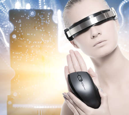 manipulator: Beautiful cyber woman isolated over abstract background