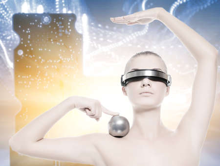 web robot: Beautiful cyber woman isolated over abstract background