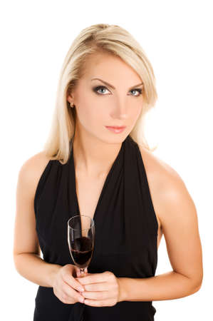 Beautiful young woman with a glass of red wine photo