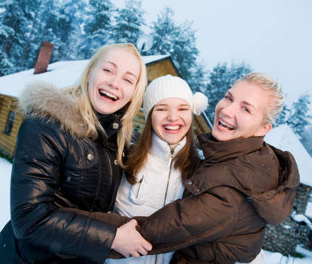 Beautiful women in winter clothing outdoors Stock Photo - 3992613