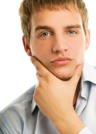 business skeptical: Handsome young man isolated on white background