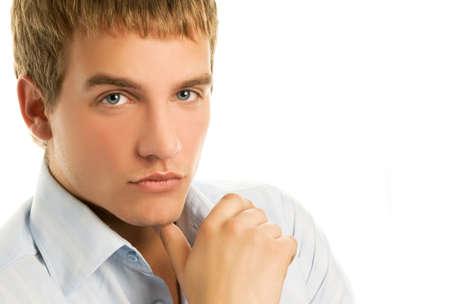 business skeptical: Apuesto joven aislado en fondo blanco Foto de archivo