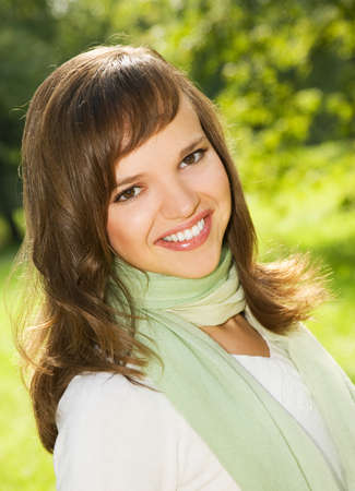 Beautiful romantic brunette close-up portrait photo
