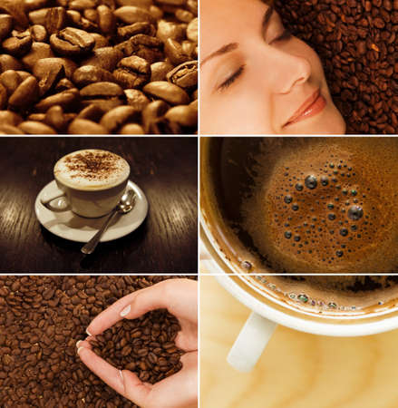 pause: Coffee collage Stock Photo