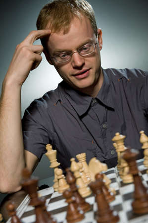 Thoughtful chess master Stock Photo - 4115727