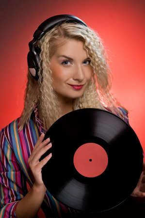 Beautiful female DJ Stock Photo - 4159076