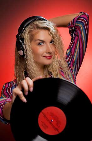 Beautiful female DJ Stock Photo - 4171360