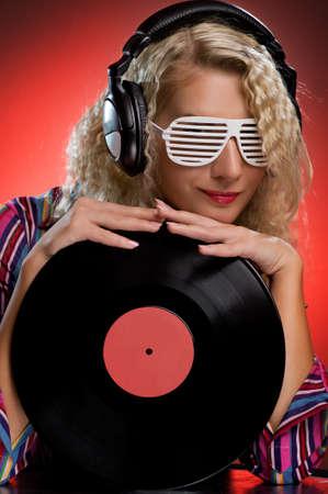 Stylish female DJ Stock Photo
