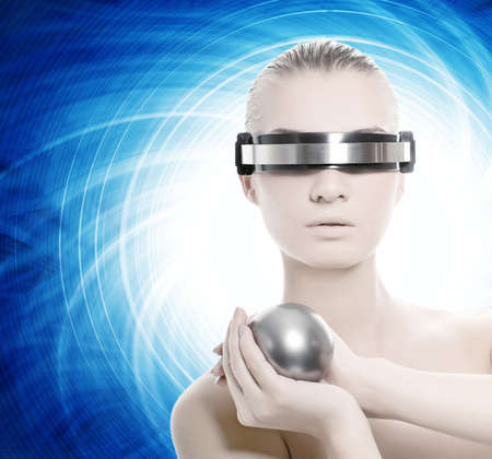 Beautiful cyber woman isolated over abstract blue background Stock Photo - 4197770