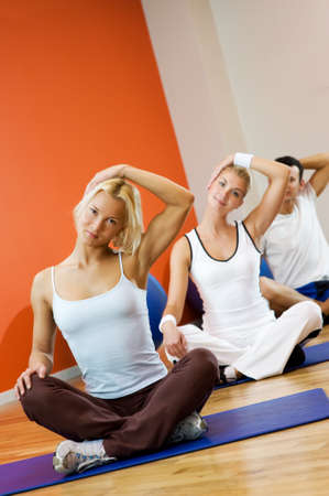 Group of people doing yoga exercise Stock Photo - 4197788