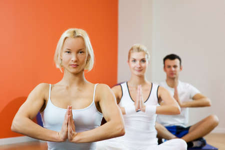 Group of people doing yoga exercise Stock Photo - 4197786