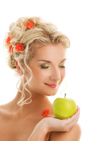 Beautiful young woman with ripe green apple. Spring concept Stock Photo - 4197812