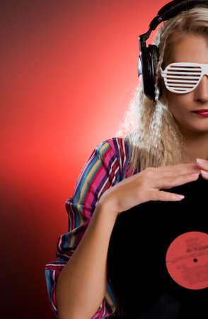 Stylish female DJ Stock Photo - 4197816