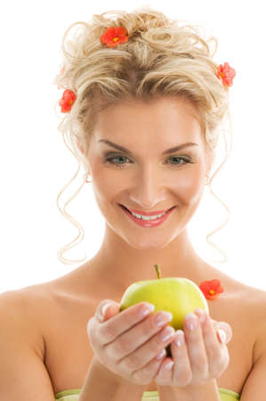 Beautiful young woman with ripe green apple. Spring concept Stock Photo - 4211395